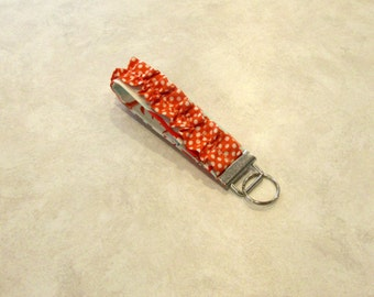 Sale Handmade Aqua and Coral Ruffled Key Chain, Key Fob, Key Ring