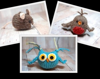 Mouse, Robin, Tufty Owl Knitting Pattern and Picture Tutorial Collection, Three Woodland Toy Ornament Waldorf DIY, Instant Download