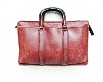 Vintage Oversize Bonnie Cashin COACH Large Leather Briefcase Handbag Distressed Rare Burgundy Made in the United States