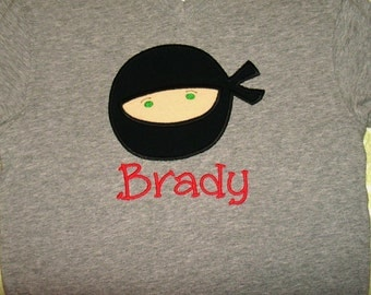 Custom Ninja applique on a shirt or onesie- includes name