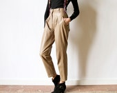 80s Khaki Leather Pants Pleated New Wave Tan Tapered Preppy hipster cropped ankle length high waist slacks avant garde menswear trousers
