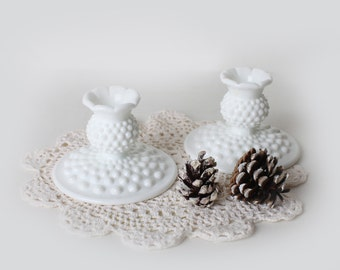 Vintage White Hobnail Milk glass CandleSticks