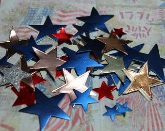 Vintage 1960's Silver, Blue and Red Star Stickers