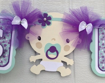 purple and teal baby shower decorations baby girl banner etsy