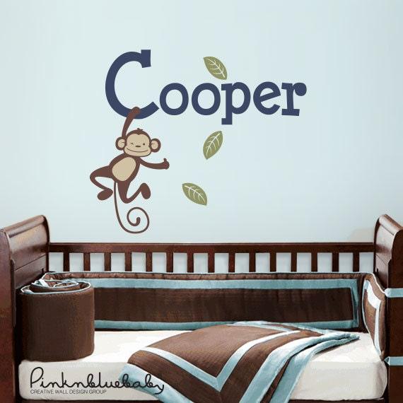 Hanging Monkey Custom Baby Name- Kids Wall Sticker Baby Name Decal