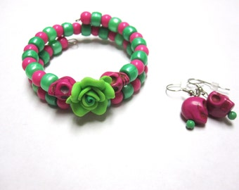 Day Of The Dead Bracelet Earring Set Sugar Skull Green Hot Pink Flower