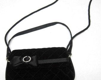 Black Velvet Purse Bow Rhinestone Quilted Handbag Shoulderbag