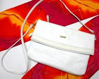 White Leather Purse Handbag Shoulderbag Clutch