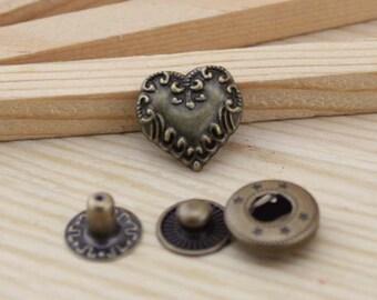 10sets antique bronze heart Snap button S47 (requries 633 tool)