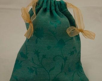 Green brocade tarot bag, reverse side