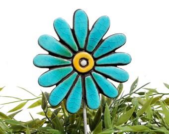 Flower garden art - plant stake - garden decor - flower ornament  - ceramic flower - daisy - jade