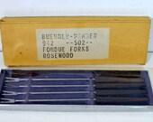 Vintage Rosewood Fondue Forks:  Set of Four