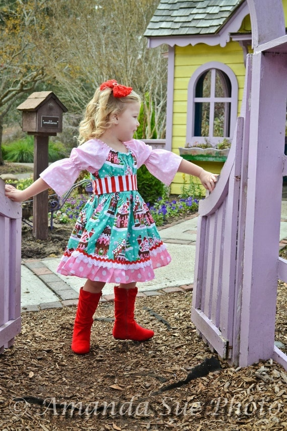 Items similar to girls gingerbread house christmas dress
