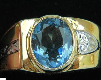 2.00ct Natural Aquamarine Diamond Ring Solitaire Deco 14KT