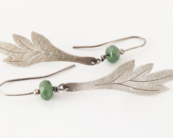 Leaf shaped jade and oxidized silver ear dangles