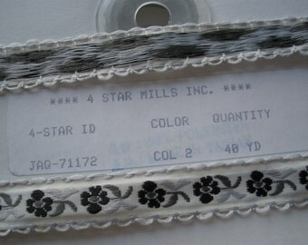 """40 Yard Spool Shades of Grey Flowers Embroidered Ribbon Gray white 1/2"""" Cool Trims black 4 Star Mills craft costume Hair Embellishment"""