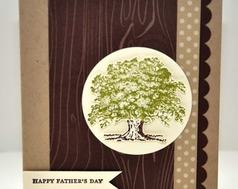 Father's Day Greeting Card, For Him, Dad, Father, Grandpa, Tree, Woodgrain, Green, Brown, Stamped, Stripes, Blank Inside