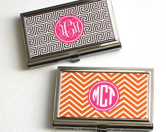 Business Card Case - Monogram Business Card Holder - Personalized card holder - Personalized Gift -  Coworker gift