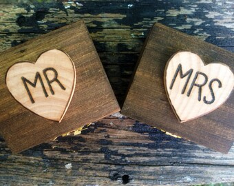 Mr & Mrs Stained Ring Bearer Boxes  Romantic Rustic Country Wedding  Alternative Ring Pillow