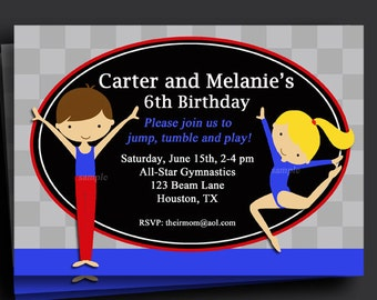 Gymnastics Sibling Invitation Printable or Printed with FREE SHIPPING - You Pick Girl/Boy, Hair Color/Skin Tone