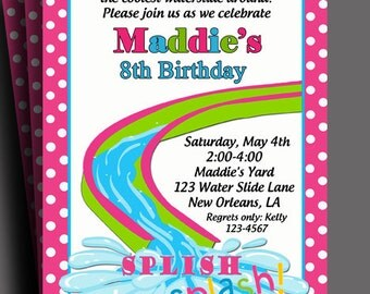 Girls Waterslide Pool Party Birthday Party Invitation Printable or Printed with FREE SHIPPING