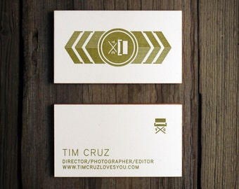 Custom Letterpress Business Card and Graphic Design Package w/ edge printing - 2-sided - 100qty