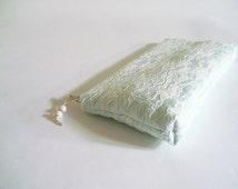 Aqua Wedding Clutch, Lace Clutch, Aqua Bridal Purse, Bridesmaid Lace Purse, Lace Satin Clutch