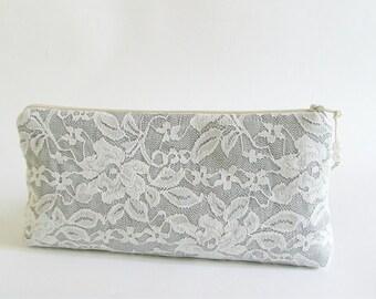 Silver Lace Clutch, Lace Wedding Clutch, Ivory Lace on Silver Clutch, Bridesmaid Lace Clutch, Prom Bag