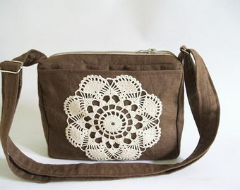 Brown Shoulder bag, Crossbody Travel Bag, Handbag with Crochet, Small Crossbody Bag, Urban Sling Bag, Brown Messenger bag