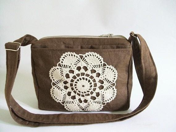 Brown Shoulder bag, Crossbody Travel Bag, Handbag with Crochet, Small Crossbody Bag, Urban Sling Bag, Brown Messenger bag