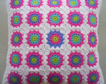 the flowery crochet granny square cushion cover / pillow cover