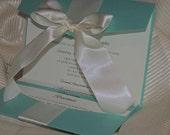 Aqua / Turquoise &  White Wedding Invitation