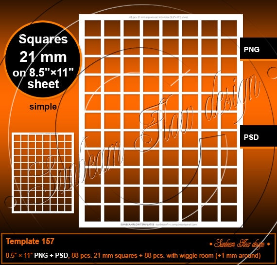 INSTANT DOWNLOAD 21 mm Squares TEMPLATE 157 Printable