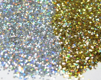 holographic glitter solvent resistant gold hex OR silver .015 .008 cosmetic grade 1fl. ounce - 14 grams / half ounce by weight