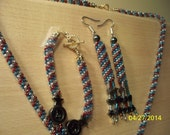 New Handmade 'The Patriot' Red White and Blue Necklace, Earrings and Bracelet Set