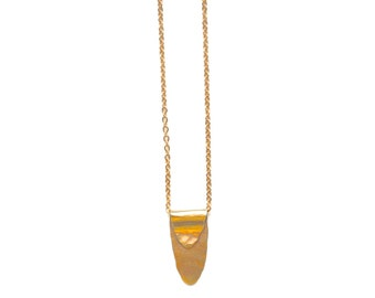 Slope Necklace - Hammered Brass Pendant on Vintage Chain