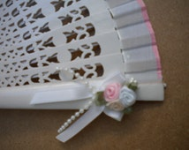 Hand Fan White First Holy Communion Religious Girls or Bridesmaids MTO