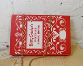 Book Clutch Purse- Betty Crocker Cookbook- Vintage Ande purse- Convertible Handle- One of a Kind