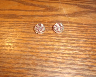 vintage clip on earrings pink lucite goldtone