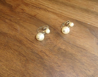 vintage clip on earrings faux pearl dangles