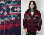 RARE - Vintage - Pendleton - Navy Blue & Burgundy Red - Southwestern - Navajo Native Style - Zip Up - Cowichan - Cardigan - Wool Sweater