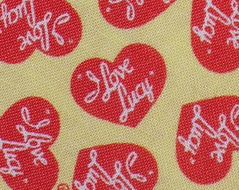 I Love Lucy Fabric /  Lucy Hearts / Half Yard / Red Hearts on Yellow / Lucille Ball/ Chocolate Factory
