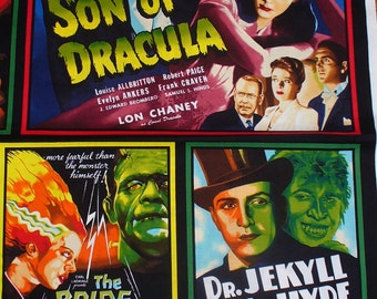Horror Movie Posters / Movie Monsters / Dracula, Invisible Man, Dr Jekyll, Mr Hyde, The Mummy / Panel