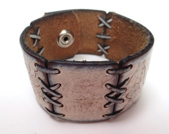 Textured White Leather Cuff with Segments Joined by Laced Leather Cords, Upcycled from Belt