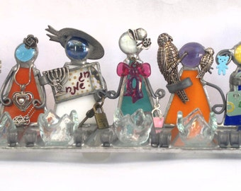 Children of the world - Stained glass handmade menorah hanukkah dalit-glass