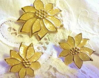 Vintage Sarah Coventry Yellow Flower Earrings Brooch or Pendant