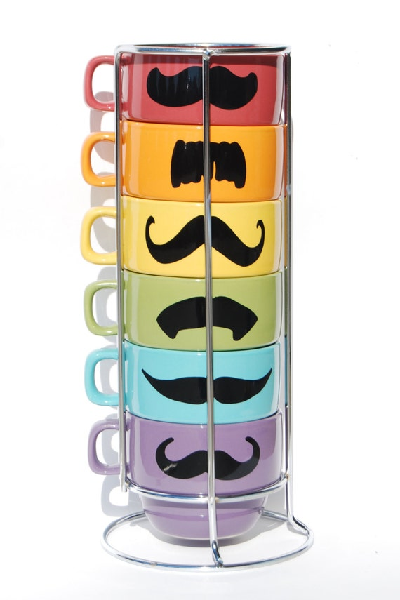LAST ONE - Pastel Design Multi Color Mustache Coffee Mugs set - set of 6 stackable mugs and chrome holder