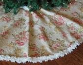 Shabby Chic Christmas Tree Skirt, Cottage Chic Tree Skirt, Vintage Style Tree Skirt, Cottage Garden Christmas Decoration,