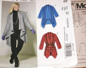 McCall's 6210 Swing Coat Plus Size Jacket Shaped Draped Hem Shawl Collar Women's Easy Sewing Pattern Bust 38 40 42 44 46 48 Factory Folds