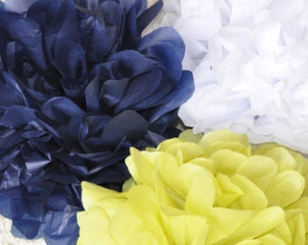 6 tissue poms {Navy & Green}